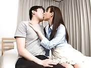 Rui Saotome Asian in sexy dress and blouse kisses dude for action
