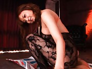 Akiho Yoshizawa in black lace full body sits on man top riding