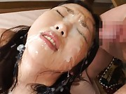 Aya Shiraishi Asian has pretty face covered all in fresh sperm