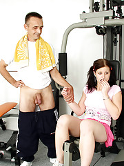 Fitness instructor getting sucked by chick