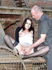 Horny old hotshot shagging a younger chick