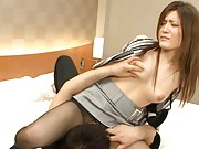 Anna Mitsui Asian has love box licked through hole in stockings