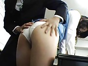 Mariko Shiraishi with ass in panty and nylon stockings is fondled