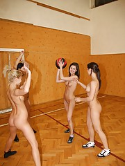Adorable teenagers playing sports in the nude