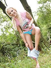 Blonde sweetheart pleasures her cunt outdoors