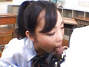 Kumi Tachibana sucks phallus and squeezes milk form her melons