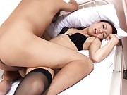Shinobu Todaka Asian gets big frigging in black stockings and bra