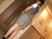 Sena Aragaki Asian is touched over ass in her office uniform