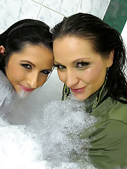 Two adorable horny girls bathing for pleasure