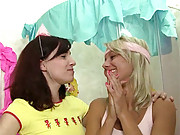Adorable lesbians love pleasuring each other