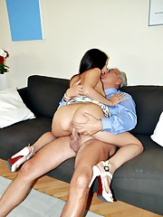 Old senior dude penetrating cooch with pecker