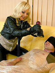 Blindfolded blonde sucking his massive pecker