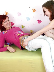 Redhead pleasures her sexy lesbian girlfriend