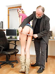Cute nude girl shagging her boss for a raise