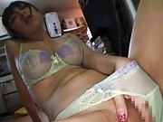 An Mashiro Asian with big jugs in bra plays with slit in scanty