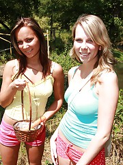 Two horny chicks at a local farm pleasuring