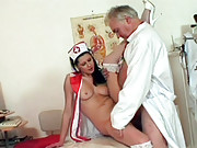 Young pretty chick fucking a much older dude