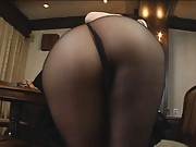 Yuka Osawa Asian exposes butt in black thong and nylon stockings