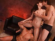 Rio Asian cupcake is fucked with two fingers in slit in threesome