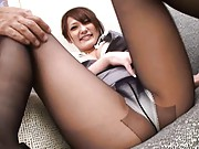 Sena Aragaki Asian has black nylon stockings broken by fellow