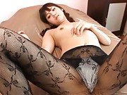 Rei Mizuna Asian in nylon stockings has round knockers squeezed