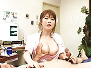 Rio Hamasaki Asian nurse has big tits fondled by patient she rubs
