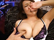 Marin Koyanagi Asian has nipples pushed in her huge bazoom bas