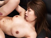 Hikari Hino Asian with big hooters gets sperm around sexy belly