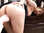 Hikari Hino Asian is fingered in pussy under skirt with ass up