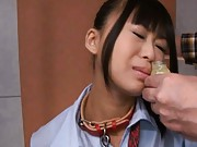 Chika Ishihara Asian with chain on neck has to eat cum from jar