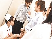 Japanese AV Model has group examination of slit at gynecologist