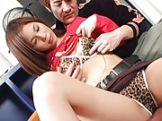 Azusa Nagase Asian gets sex toys over her animal print lingerie