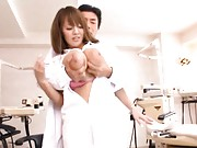 Hitomi Tanaka Asian has huge knockers fondled and squeezed by doc