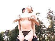 Yuu Konishi Asian in thong has boobs and nipples fondled in park