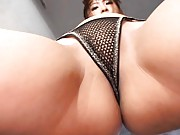 Rin Asian nymphet shows slit and hooters in fishnet lingerie