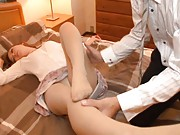 Mei Miura Asian spreads legs in stockings to show pussy in scanty