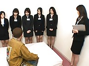 Japanese AV Model is undressed of office uniform in front of gals