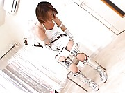 Yume Kimino Asian in silver boots starts to touch her love box