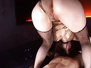 Miho Ashina Asian in golden dress rides dick through fishnet
