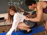 Kokomi Naruse Asian sits with nude pussy on table and is licked