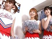 Yuu Konishi Asian and two cheerleaders show juicy bazoom bas
