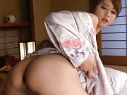 Akiho Yoshizawa in geisha dress has behind fondled during fuck
