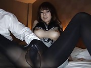 Yui Hatano Asian on high heels has vagina rubbed inside nylon
