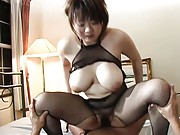 Sakura Kawamine rides stiffy with immense jugs out of fishnet