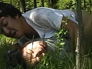Reiko Akiyama Asian is kissed and fucked by dude on the grass