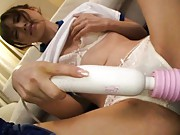 Rina Kato Asian gets cum on face while she turns her pussy on
