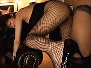 Harumi Asano Asian on high heels is doggy drilled through fishnet