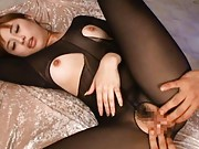 Kokomi Naruse Asian has pussy rubbed through hole in nylon body