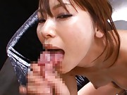 Akina Asian cupcake in short pants sends cum from dong on face