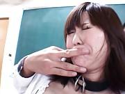 Nanako Mori Asian has legs spread and twat fingered in classroom